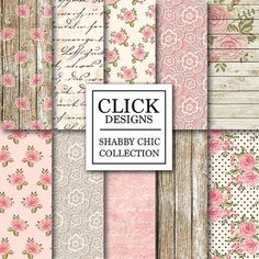 Shabby Chic Digital papel: Scrapbooking romántico por ClickDesigns