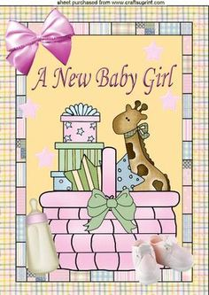 BASKET OF FUN A NEW BABY GIRL A4 on Craftsuprint designed by Nick Bowley - BASKET OF FUN A NEW BABY GIRL, A4, Makes a lovely quick card for a new baby, just add some sparkle - Now available for download!