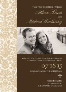 A warm brown background is bordered with a band of classic gold damask on the Chocolate and Gold Damask wedding invitation.