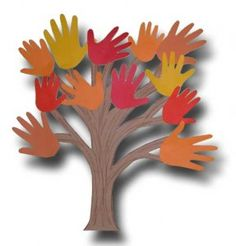 Fun fall art project using kids hands. Easy to do at the last minute because all you need is construction paper, a pen for tracing, scissors and glue--all things that most parents have on hand.