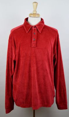 J. Crew Men's Vintage XLT Solid Red Long Sleeve Velour Cotton Blend Polo Shirt #JCrew #PoloRugby