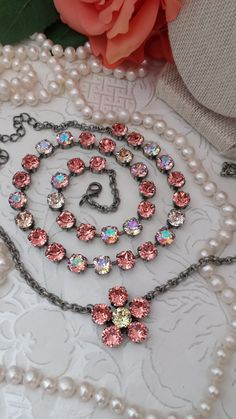New 8mm Genuine Swarovski Crystal Fancy Flower Pendant Necklace!! FIVE 8mm Rose Peach Crystals were handset around One 8mm Glistening, Buttery