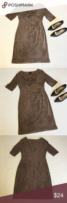 • Soft Suede Cowl Neck Gathered Dress • Taupe - Tan - Light Brown Color, super soft feeling suede material, cowl at the neck, quarter - half sleeves, pleated gathering at the waist on one side to flatter the figure, worn once, like new condition and gorgeous, can be dressed up or down 💕 connected apparel Dresses Long Sleeve