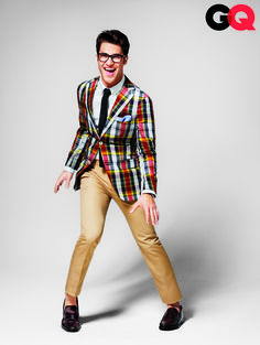 So...I have a soft spot for men in glasses...and colorful blazers...and fitted trousers...and Darren Criss...