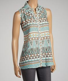 Take a look at this Turquoise Tribal Sleeveless Button-Up by Pink Cattlelac on #zulily today!