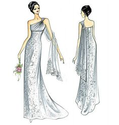 Sewing patterns for fashion clothing, crafts and home decorating. Dress sewing patterns, evening and prom sewing patterns, bridal sewing patterns, plus costume and cosplay sewing patterns. Wedding Dress Sketches, Wedding Dress Patterns, Wedding Dresses With Straps, Bridal Dresses, Dresses With Sleeves, Vogue Sewing Patterns, Clothing Patterns, Marfy Patterns, Minimalist Gown