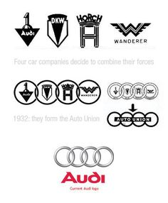 "name is based on the founder, August Horch. ""Horch"", meaning ""listen"", becomes ""Audi"" when translated into Latin. The four rings of the Audi logo represent one of four car companies that banded together to create the company. Audi's slogan is Vorsprung durch Technik, meaning ""Advancement through Technology"". Audi is part of the ""German Big 3"" luxury automakers, along with BMW and Mercedes-Benz, which are the three best-selling luxury automakers in the world."