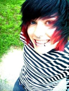red and black emo hair for boys