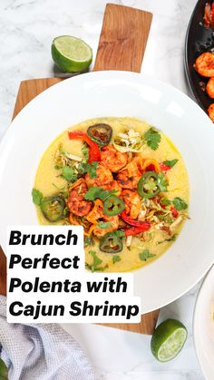 Brunch Perfect Polenta with Cajun Shrimp Shrimp Recipes, Veggie Recipes, Vegetarian Recipes, Cooking Recipes, Healthy Recipes, Polenta Recipes, Cornmeal Recipes, Breakfast Bowls, Breakfast Time