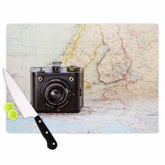 "Kess InHouse Debbra Obertanec 'Travel Time' Black Beige Cutting Board (Large 11.5"" x 15.75""), Multi (Glass)"
