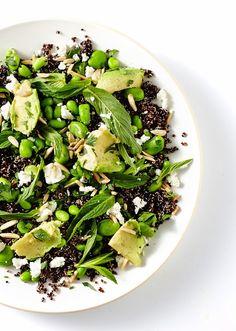 black quinoa, avocado, edamame and mint salad