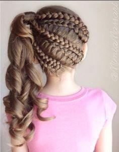 Party Hairstyles for girls - Peinados de Fiesta para niñas Little Girl Braid Hairstyles, Little Girl Braids, Girls Braids, Braided Hairstyles, Cool Hairstyles, Party Hairstyles, 1940s Hairstyles, Beautiful Hairstyles, Wedding Hairstyles