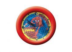 SPIDERMAN OROLOGIO MURO  Orologio a muro in plastica con bordo di colore rosso con disegno all'interno di Spiderman regolabile da dietro, funziona con una batteria di tipo AA non inclusa