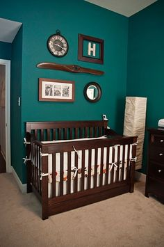Nursery....teal green and dark wood.  Great color combination.