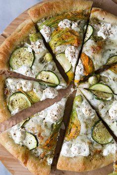 Ricotta Squash Blossom Pizza