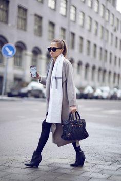 LYNCHPINOFNONSENSE sunglasses, beige long waterfall coat, Balenciaga bag and wedged ankle boots