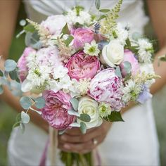 Bridebook loves this beautiful pink & white summer bouquet design by Clara Oliver Floristry.