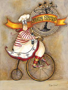 Paris Bistro I French Bistro Cafe Art Print French Cafe, French Bistro, Chef Kitchen Decor, Kitchen Art, Bistro Decor, Cafe Art, Poster Prints, Art Prints, Le Chef