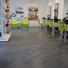 Hair salons don't always have to have boring floors. Look at this one in Zurich featuring SEMCO Micro Cement, Hair Salons, Commercial Flooring, Concrete Floors, Countertops, Modern Design, Buildings, Surface, Inspiration