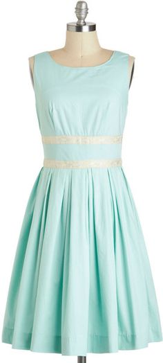 beautiful mint blue-green a-line, with shallow scoop and pretty (and pretty cool) waistband, lower band at natural waist ModCloth A Line Dress Mint YES PLEASE for BGS