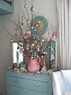 Blue (and pink) Christmas - love the idea of using a vintage water pitcher! Noel Christmas, Pink Christmas, Winter Christmas, Christmas Crafts, Christmas Colors, Beautiful Christmas, Christmas Vignette, Victorian Christmas, Christmas Balls