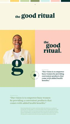 The Good Ritual | all-natural wellness products - The first ever Specialty Instant Coffee with L-theanine. The Good Ritual's main goal is to create unique wellness products that enhance health and empower modern women. branding, logo design, colorful brand design, colorful logo, logo inspo Corporate Design, Brand Identity Design, Graphic Design Branding, Typography Design, Lettering, Food Graphic Design, Logo Design Trends, Website Design Inspiration, Graphic Design Inspiration