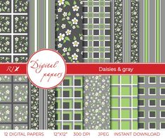 Daisies and gray Plaid Digital Paper High Quality Instant | Etsy Pattern Paper, Fabric Patterns, Scrapbook Stickers, Label Stickers, Digital Wall, Digital Papers, Pillow Fabric, Pattern Illustration, Printable Paper