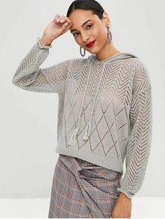 Knitwear Fashion, Knit Fashion, Sweater Fashion, Trendy Fashion, White Knit Sweater, Hooded Sweater, Summer Knitting, Lace Knitting, Knit World