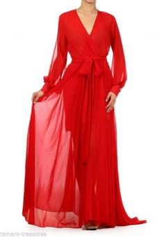Red Full Sweep Chiffon Maxi Dress Wrap Sheer Gown Cruise Long Skirt Party Vtg | eBay