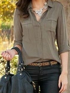 Army Green Long Sleeve Blouse -SheIn(abaday)