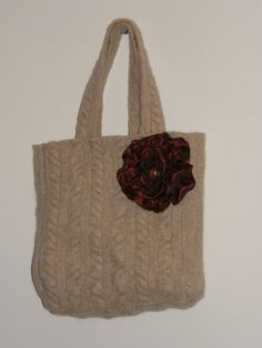 Felted Beige Cream Tote Bag Purse Burgundy ribbon flower
