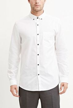 Cotton-Blend Pocket Shirt in White - forever21