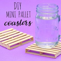 Got any lolly sticks lying around? Then make yourself some mini pallet  coasters for the home.
