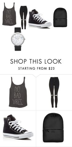 """""""no bad vibes"""" by merel-meuleman ❤ liked on Polyvore featuring Billabong, Topshop, Converse, Rains and Elwood"""
