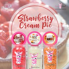 Nothing says summer like the scent of Strawberries! Pink Zebra Consultant, Strawberry Cream Pies, Sprinkles Recipe, Pink Zebra Home, Pink Zebra Sprinkles, Vanilla Recipes, Orange Recipes, Independent Consultant, French Vanilla