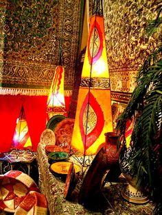 Marocaine henné Plafonnier Luminaire de chèvre de la peau FANCY Handmade Home Decor orange