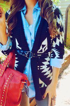 denim + aztec sweater + waist belt