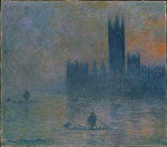 """The Houses of Parliament (Effect of Fog)"" by Claude Monet. 1903-04, oil on canvas. In the collection of The Metropolitan Museum of Art, NYC. Bequest of Julia W. Emmons."