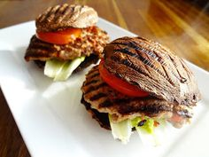 """Turkey Burgers with 'eggplant """"bun"""". I'm probably the only one in my family who would eat this, but still, it looks good."""