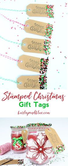 Use plain tags, a Christmas greeting stamp and confetti to whip up these gift tags just in time for all your gift wrapping. Grab all your supplies, put on some Christmas music or a movie and get crafting. Christmas Gift Wrapping, Christmas Tag, Christmas Greetings, Christmas Crafts, Christmas Ideas, Christmas Brunch, Christmas Music, Simple Christmas, Holiday Ideas