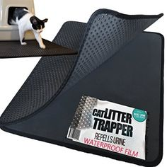 XL Cat Litter Trapper With EXCLUSIVE Urine/Waterproof LAYER ONLY by iPrimio ®. EZ Clean. Soft & Light. XL Size. Urine pad Feature. (Patent Pending) Black Color.