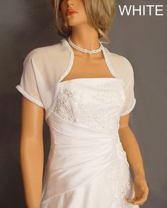Chiffon bridal bolero jacket wedding shrug short sleeve
