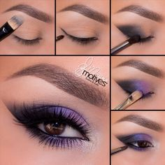 "Purple and black cat eye by Ely Marino using Motives! 1. Apply ""Birch"" onto the brow bone 2. Taking a detail pointed brush begin by drawing a line in the outer corner of the eye using ""Onyx"" 3. With the same color begin by feathering the color inward stopping about halfway 4. Pat ""Fantasy"" shadow slightly over top of the black just to help blend the color 5. Using ""Pearl"" highlight the inner corner of the eye! Line the water line with ""LBD"" gel liner and smudge out with ""Onyx"" & ""Fa"