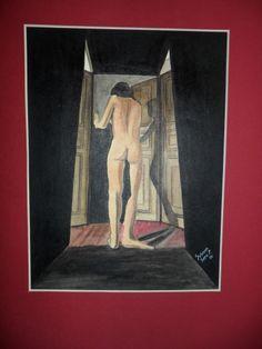 chica entre puertas Acuarela Susana Soto Poblette