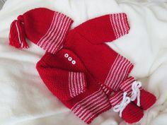 Sets - Babygarnitur 3-teilig Gr.50-56 kirschrot - ein Designerstück von LaNa64 bei DaWanda Gloves, Unisex, Winter, Etsy, Fashion, Outfits, Knitted Baby Clothes, Dress Set, Red