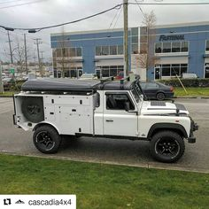 with ・・・ Expedition ready Land Rover Defender spotted on the streets of Vancouver today! Looks like fun. Defender Camper, Defender 130, Land Rover Defender, Coventry, Mercedes Benz Unimog, Offroader, Futuristic Motorcycle, Bug Out Vehicle, Terrain Vehicle