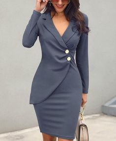 Casual Blazer Elegant Dress – Plum & Violet