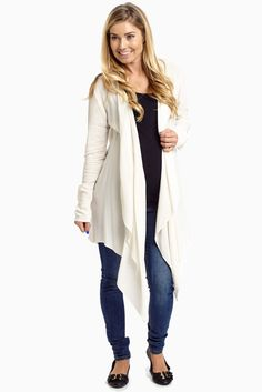 1ec720c01d Ivory Long Flowy Open Front Maternity Cardigan. Layer your transitional  wardrobe with a light