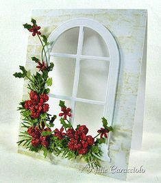 Poinsettia, Pine and Holly Window Garland Sparkly Poinsettia, Pine and Holly Window Garland - KittieKraftSparkly Poinsettia, Pine and Holly Window Garland - KittieKraft Flower Cards, Paper Flowers, Holiday Cards, Christmas Cards, Memory Box Cards, Poinsettia Cards, Window Cards, Christmas Paper Crafts, Marianne Design
