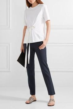 Theory - Testra Wool-blend Crepe Slim-leg Pants - Midnight blue - US10